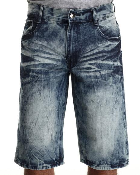 Basic Essentials - Men Medium Wash Acid Washed Denim Shorts - $36.00