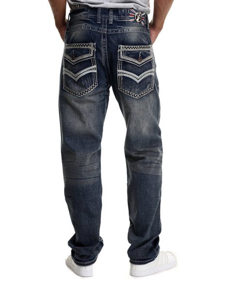 Monarchy - Men Dark Wash Thick - Stitch Flap - Pocket Denim Jeans