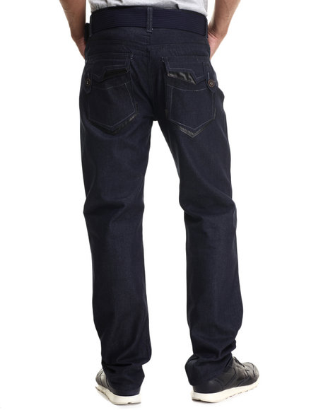 Basic Essentials - Men Blue Flap - Pocket Denim Jeans