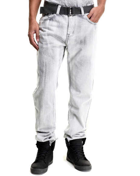 Monarchy - Men Grey Monarchy Belted Flap - Pocket Denim Jeans
