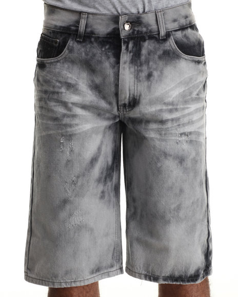 Basic Essentials - Men Black Lightning Acid Washed Denim Shorts
