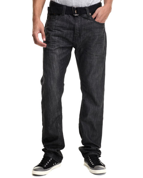 Monarchy - Men Black Wake Back - Pocket Belted Denim Jeans