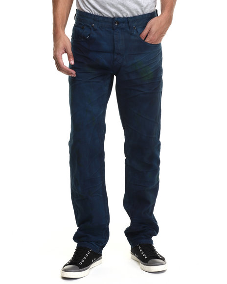 Akademiks - Men Blue Conklin Painted Finish Twill Pants