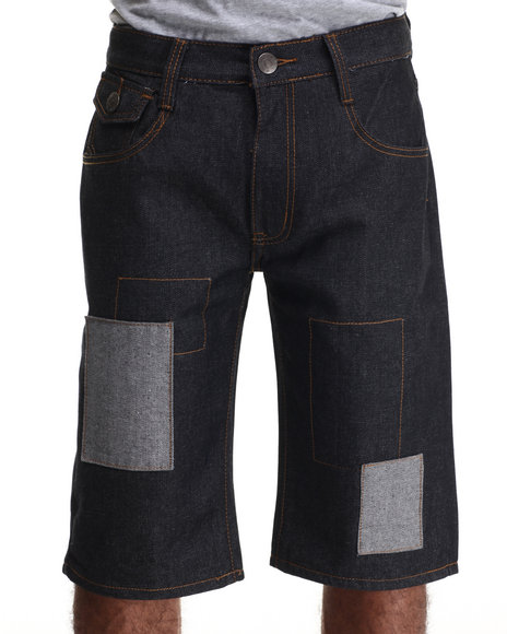 Basic Essentials - Men Raw Wash Multi - Patch Denim Shorts - $18.99