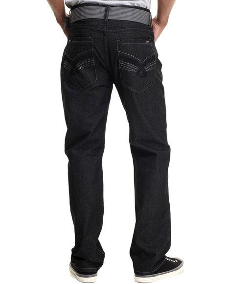 Basic Essentials - Men Black Shine - Knot Belted Denim Jeans - $30.00