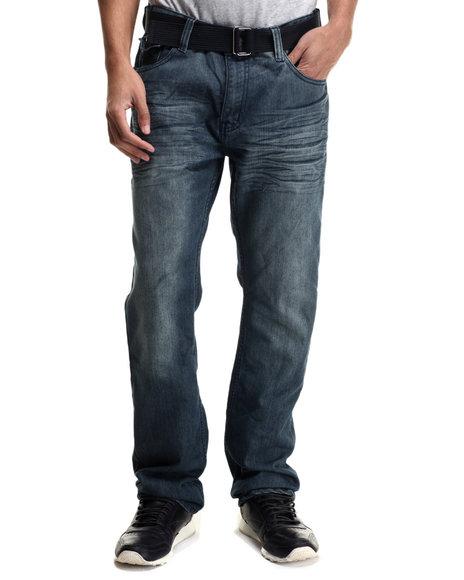 Ur-ID 214379 Monarchy - Men Medium Wash Chevron Back - Pocket Denim Jeans