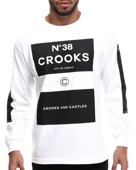 Crooks & Castles - Men White Blocks 38 L/S T-Shirt - $40.00