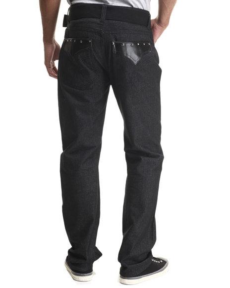 Basic Essentials - Men Black Faux - Leather Trimmed Denim Jeans - $30.00
