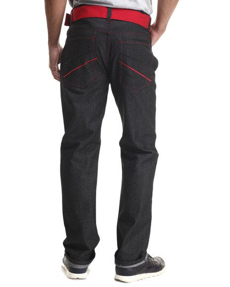 Basic Essentials - Men Black Rise Belted Denim Jeans - $30.00