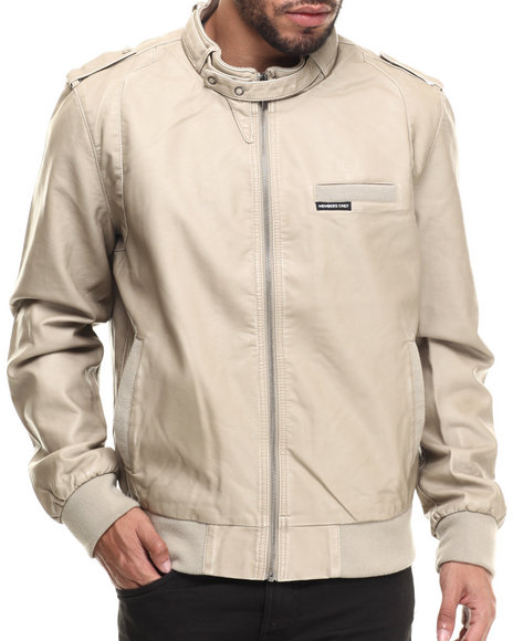 Members Only - Men Khaki Faux Leather Real Racer