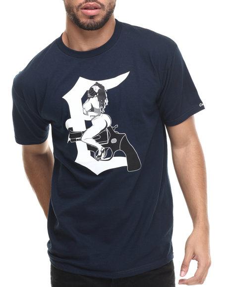 Crooks & Castles - Men Navy Femme Fatale .357 T-Shirt - $17.99