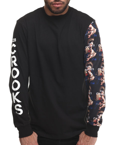 Crooks & Castles - Men Black Bandit L/S T-Shirt