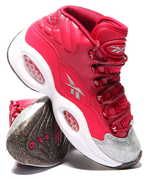 Reebok - Girls Pink Question Mid Sneakers (3.5-7)