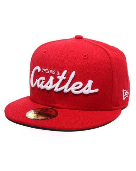 Crooks & Castles - Men Red Team Castles Fitted Cap - $40.00