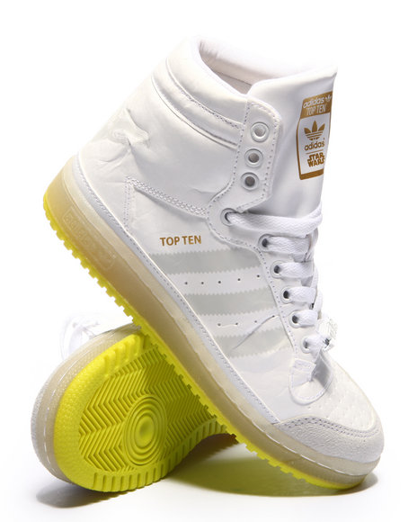 Adidas - Boys White Top Ten Hi Yoda Sneakers (3.5-7)