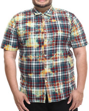Akademiks - Tech Bleach treated plaid s/s button down shirt (B&T)