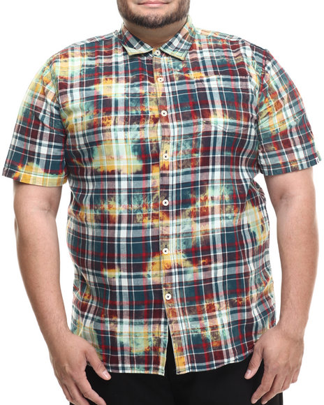 Ur-ID 214238 Akademiks - Men Green,Multi Tech Bleach Treated Plaid S/S Button Down Shirt (B&T)
