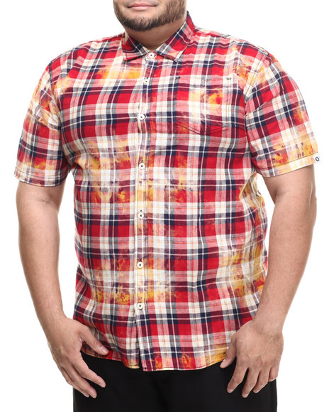 Ur-ID 214280 Akademiks - Men Red Tech Bleach Treated Plaid S/S Button Down Shirt (B&T)