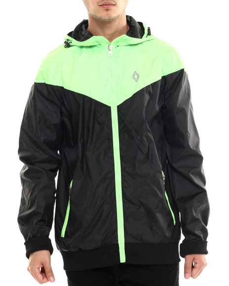 Akademiks - Men Lime Green,Black Asym Windbreaker Jacket
