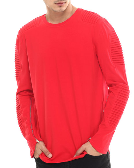 Hudson Nyc - Men Red Long Shot Thermo - Knit L/S Tee