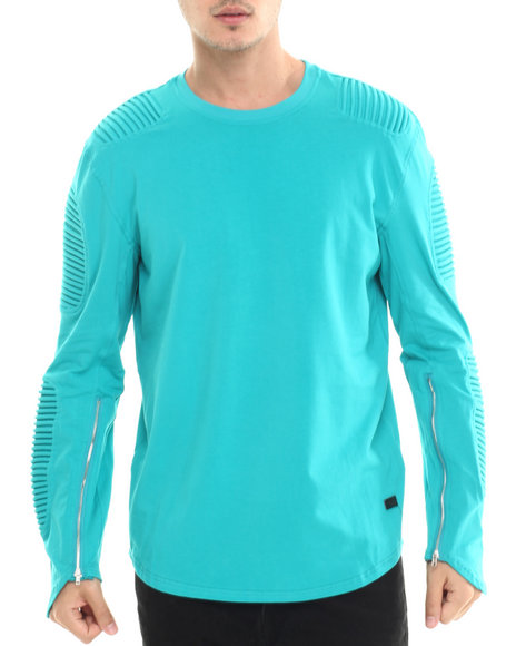 Hudson Nyc - Men Teal Long Shot Thermo - Knit L/S Tee
