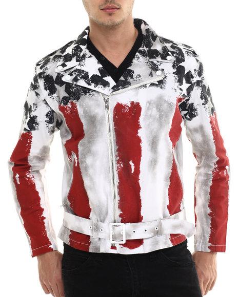 Hudson Nyc - Men White Old Glory Motorcycle Jacket