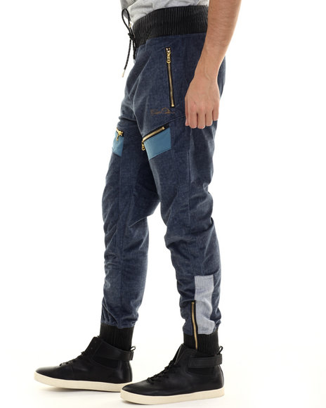 Frost Originals - Men Indigo King Of The Jungle Print Jogger Pants