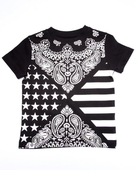 Akademiks - Boys Black Bandana All Over Print Tee (4-7) - $28.00