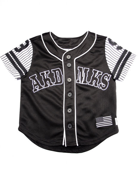 Akademiks - Boys Black Aka Button Up Baseball Tee (4-7) - $38.00