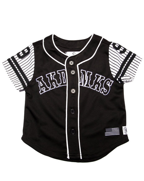 Akademiks - Boys Black Aka Button Up Baseball Tee (2T-4T) - $36.00