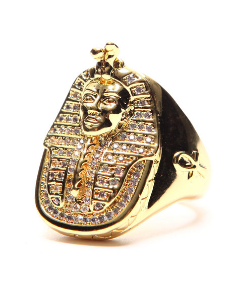 King Ice - Men Gold 14K Gold Cz Pharaoh Ring