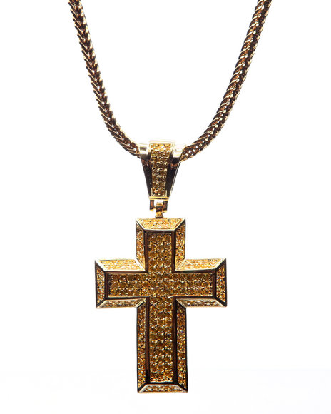 King Ice Men Gold Dome Cz Cross Chain (3Mm / 30