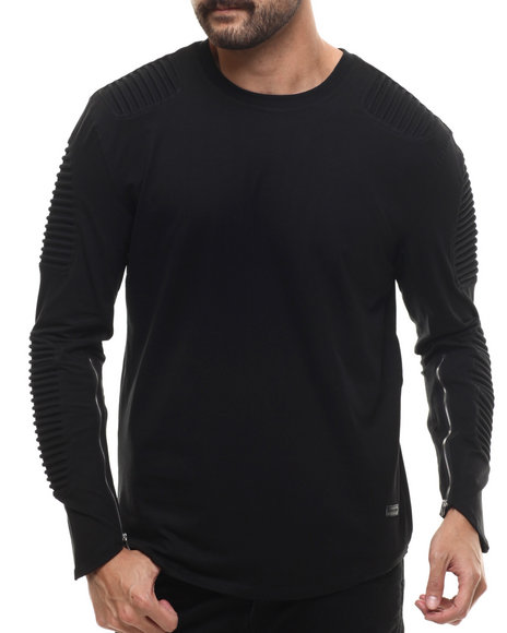 Hudson Nyc - Men Black Long Shot Thermo - Knit L/S Tee