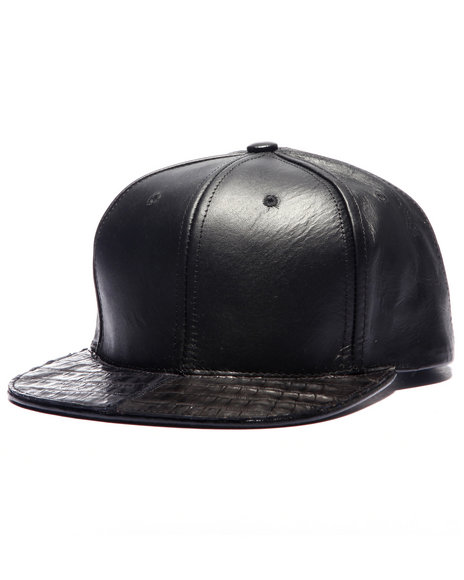 Pradagy Men Pradagy Genuine Crocodile Strapback Hat Black