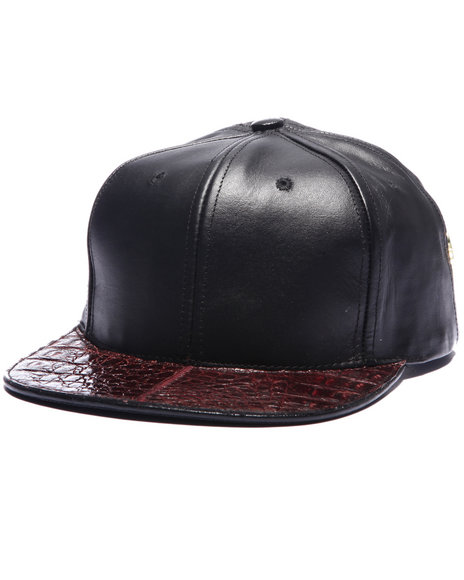 Pradagy Men Pradagy Genuine Crocodile Strapback Hat Maroon