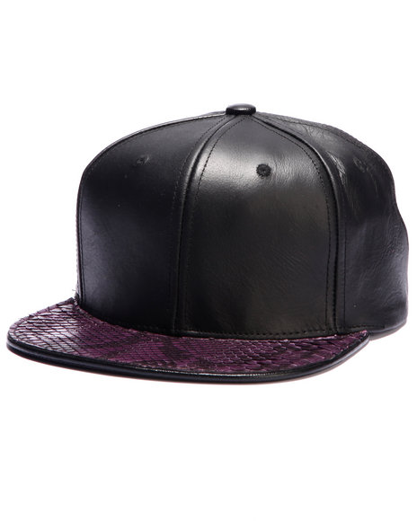 Pradagy Men Pradagy Genuine Python Strapback Hat Purple