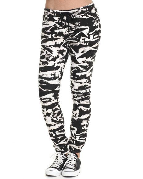 Soho Babe - Women Black,White Tiger Acid Print Twill Moto Jogger