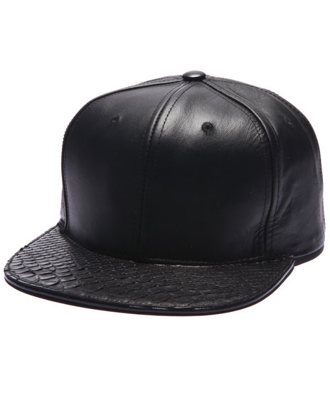 Pradagy Men Pradagy Genuine Python Strapback Hat Black