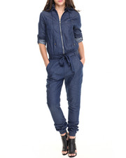 Fashion Lab - Roll Sleeve Hooded Denim Mechanic Jumpsuit