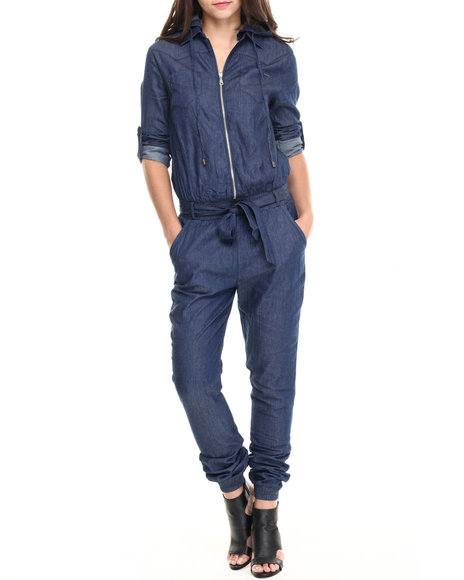 Fashion Lab - Women Medium Wash Roll Sleeve Hooded Denim Mechanic Jumpsuit
