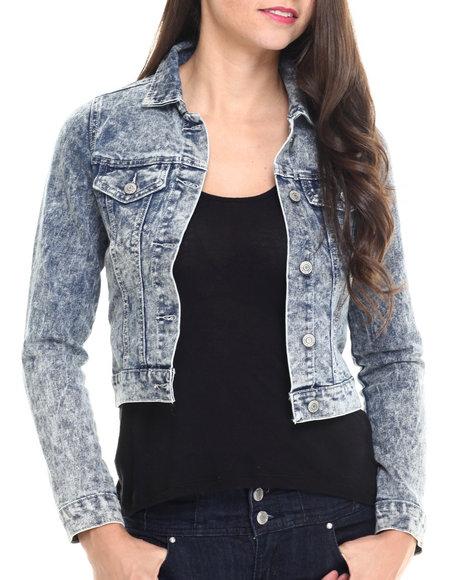 Ur-ID 214556 Fashion Lab - Women Medium Wash Dark Acid Wash Denim Jacket