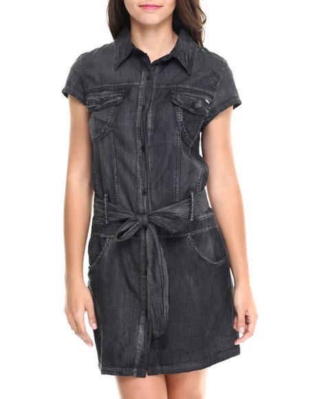 Fashion Lab - Women Black Short Sleeve Bleted Denim Dress