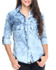 Women - Roll Cuff Fitted Denim Shirt