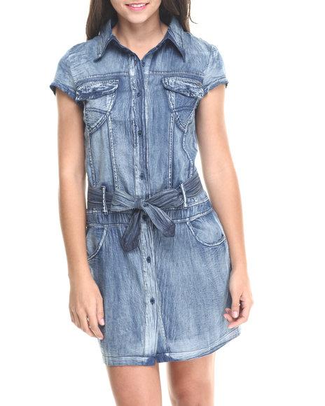 Fashion Lab - Women Medium Wash Short Sleeve Bleted Denim Dress