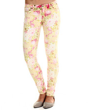 Bottoms - Premium Stretch Floral Skinny Jean