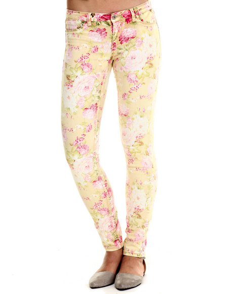 Bianco Jeans - Women Multi, Yellow Premium Stretch Floral Skinny Jean