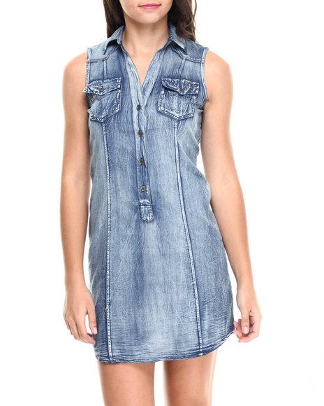 Fashion Lab - Women Medium Wash Sleeveless Denim Dress