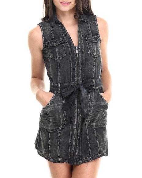 Fashion Lab - Women Black Sleeveless Zip Front Denim Dress
