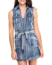Fashion Lab - Sleeveless Zip Front Denim Dress