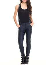 Bottoms - Skinny Boyfriend Coated Jean w/ Removable Suspender